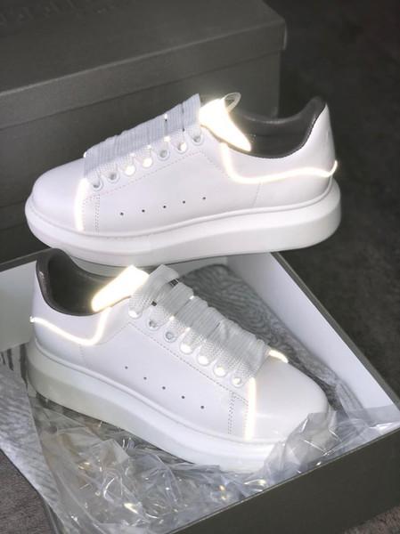 Hot Sale- Zapatos de diseño Zapatillas de plataforma Zapatillas de deporte de gran tamaño Gamuza negra 100% Cuero Blanco Zapatillas de deporte para hombres y mujeres Zapatos planos planos