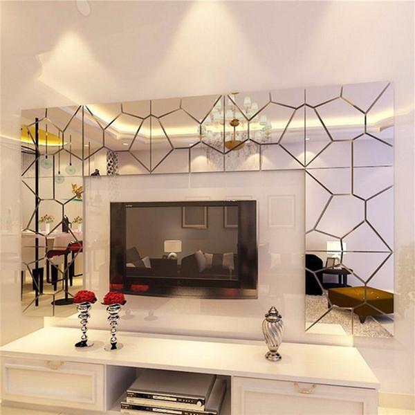 7 Pcs 18 * 18 cm Padrão Moire Quare Espelho Telha Adesivos De Parede 3D Decal Mosaico de Decoração Para Casa DIY Para Sala de estar varanda