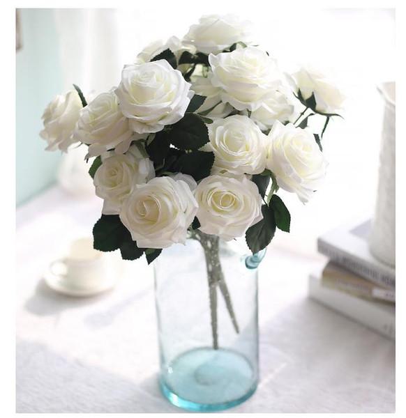 10 Heads Artificial Rose Flower Bouquet garden decor flores artificiais flower wall wedding arch flowers mariage fake flowers