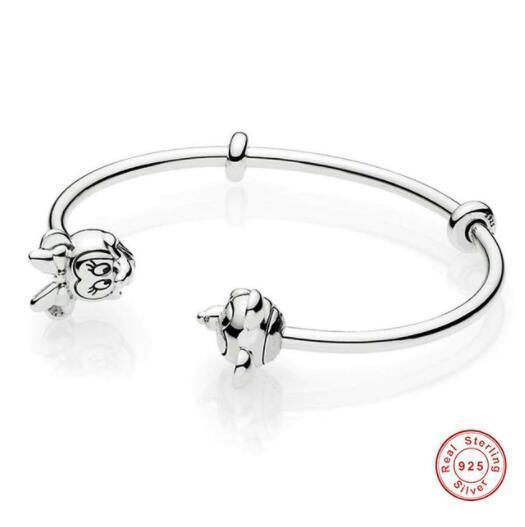 Original 925 Sterling Silver Openwork Lace Of Love Open Pan Bracelets Bangle Fit Women Bead Charm Europe Diy Jewelry Y19062901