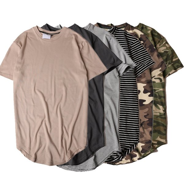 Hzijue2017 Men's T-shirt Summer Solid Color Curved Hem Long Line Camouflage Hip Hop Tshirt Elong Plain Kanye Tee Shirts Men Top S403