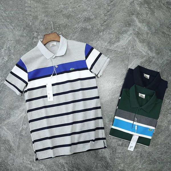 2019 New Mens Polo Shirt Marque Polo Mens Summer Top Tees À Manches Courtes Marque Chemises Mens Style Bureau Polo Shirts Taille M-2XL