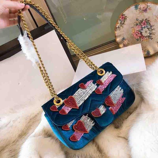 Marmont omuz çantaları çanta kadın ünlü kadife çanta aşk parti çantası için kör Pullu zincir crossbody çanta çanta tasarımcısı