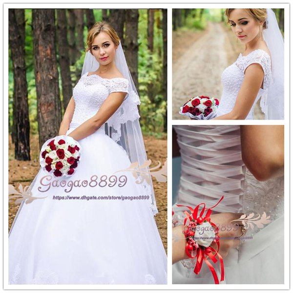 2019 Vintage Country bateau wedding dresses tulle skirts sweep train lace up pearls Bohemian long Wedding Gowns plus size vestido de novia
