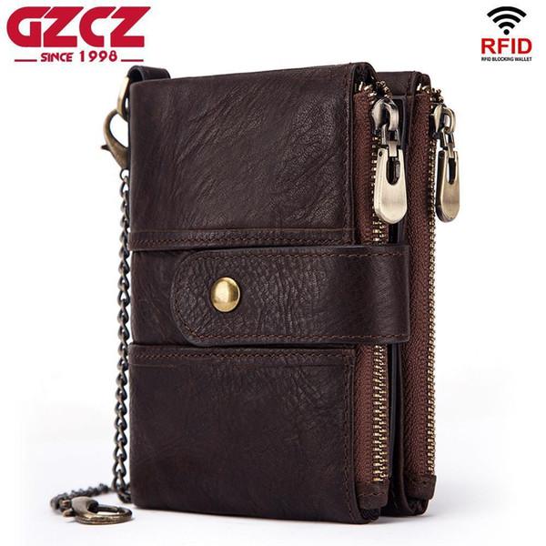 Gzcz Heiße Marke Brieftasche Männer Echtes Leder Rfid Brieftaschen Mini Geldbörse Kurze Männliche Kupplung Walet Herren Kleine Geldbeutel Hohe Qualität