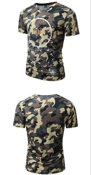 Wholesale 2018 Summer Fashion V Collar T-shirt, Men's Camouflage Print Short Sleeve Casual Cotton Couple Sweetheart T-shirt