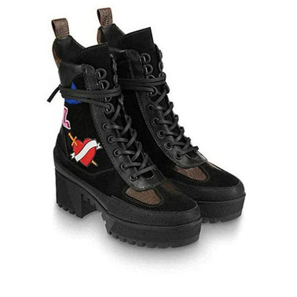 BLACK HEART PLATFORM DESERT BOOT New Arrival Lady Knee Booties Shoes Trainers LAUREATE PLATFORM 1A41QD with Dust Bag Free Shipping S47