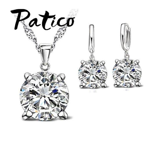 Moda Austria Cristal Pendientes Collar Conjuntos de joyería Vestido de novia clásico 925 Moda colgante Collar