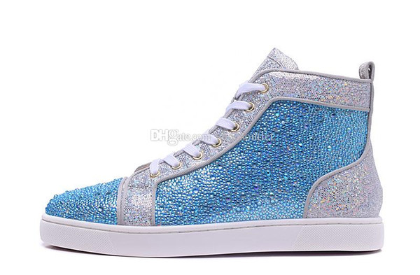 High Top Fashion Designer Marque cloutés SSpikes Flats Red Bas pour Hommes Luxe Party Femmes Lovers Glitter cuir véritable Casual Sol