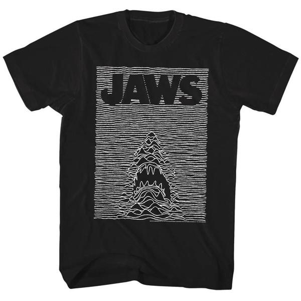 OFFICIEL Jaws Shark Joie Division de l'affiche de film Tee shirt Homme Tshirt Homme Noir Coton Manches Courtes Hip Hop T-Shirt D'impression Tee Shirt