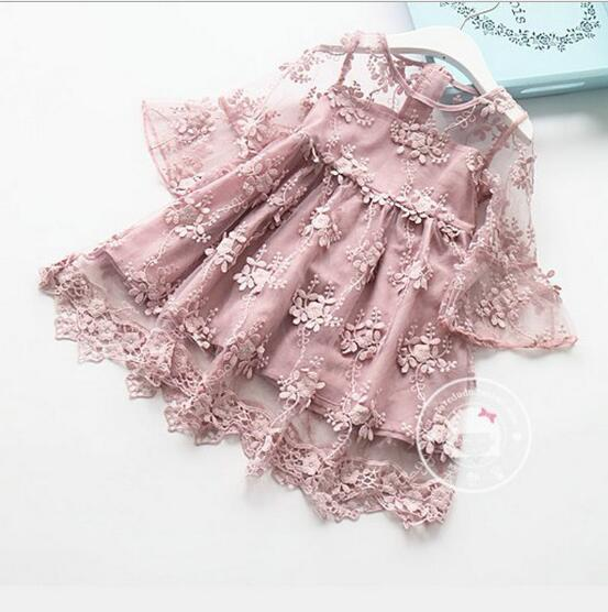 Girls Flare Sleeve Embroidered Lace Princess Dress 2019 Spring Lovely Fashion Fairy Dresses Dancewear Kids designer clothes Clothing