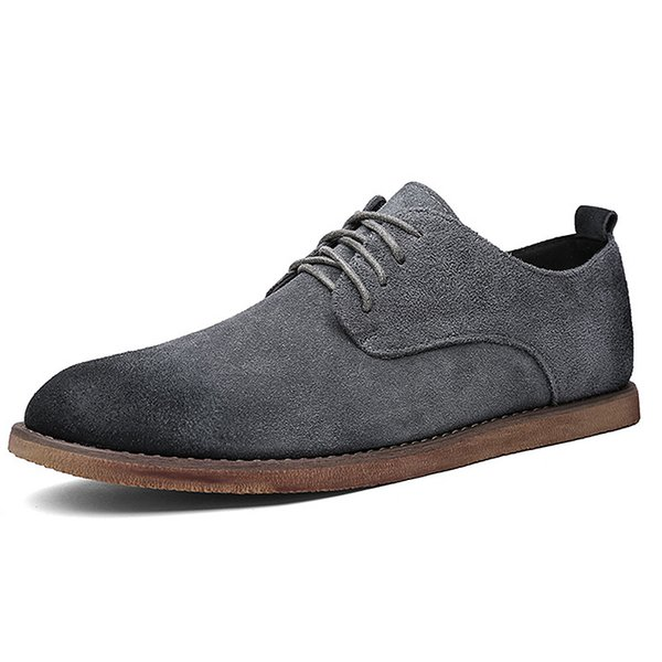 Hot Sale New Business Casual Men Shoes Designer Black Rubber Pointed Toe Summer Brush Cheap Lace Up Suede British Style