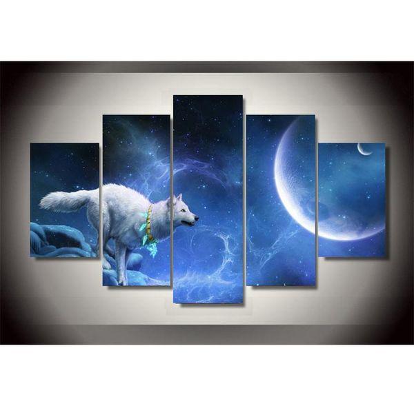 Bonito Blanco Luna Del Lobo,5 Pieces Home Decor HD Printed Modern Art Painting on Canvas (Unframed/Framed)