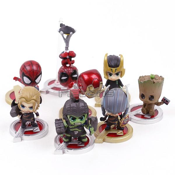 Marvel Avengers 3 Infinity Savaşı Spiderman Demir Adam Loki Thor Hulk Ağacı Man Mini PVC Toys 8pcs / set Şekil
