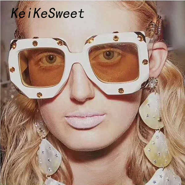 keikesweet brand designer big rhinestone square beach shades sunglasses women crystal oversized sun glasses vintage