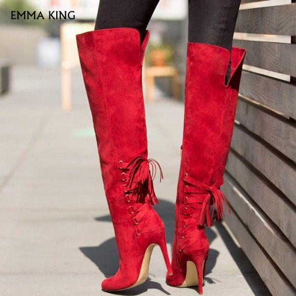 Compre Nuevos Tacones De Mujer Botas Rojas De Tacón De Aguja Botas De Caña Alta Moda Botas De Mujer 2019 Zapatos De Fiesta Mujer Tacones Para Mujer