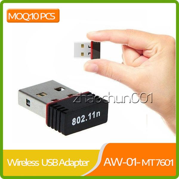 10 piezas MOQ Nano 150m Usb Wifi Adaptador inalámbrico 150mbps Ieee 802.11n G B Mini Antena Adaptadores Chipset Mt7601 Tarjeta de red 100pcs Dhl gratis