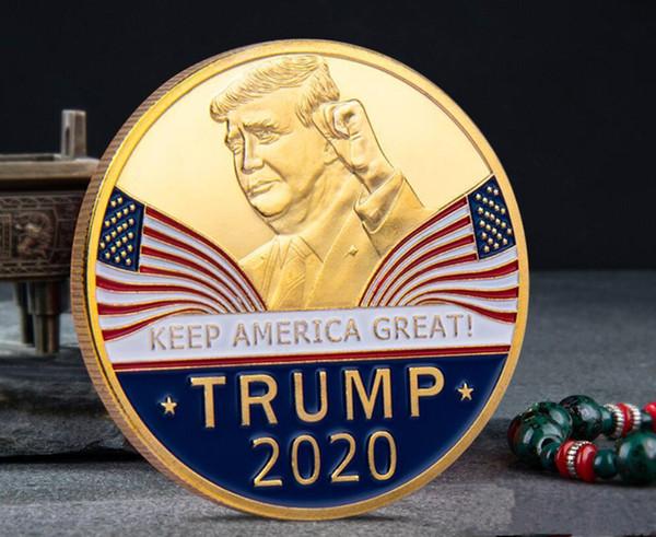 Gran moda Moneda conmemorativa de Donald Trump 2020 Presidente estadounidense Avatar Monedas de oro Insignia de plata Colección de artesanía de metal RepublicanoYD0276