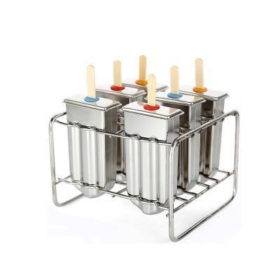 New Stainless Steel Ice Lolly Popsicle Mold Ice Pops Mould Home DIY Ice Cream 6pcs/Batch More Options Free Shipping