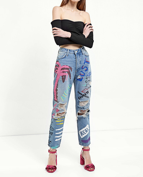 Fashion Blue Graffiti Print Jeans Woman Denim Ripped Hole Jeans For Women Zipper Casual Distressed Straight Pants Trousers S-XL