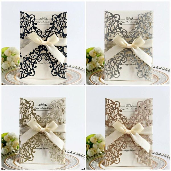 10pcs bowknot glitter invitations european style laser cut wedding invitations holiday greeting card cover