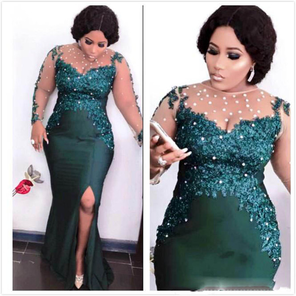Aso Ebi Arabic Dark Green Sexy Evening Dresses Beaded Mermaid Prom Dresses Sheer Neck Formal Party Second Reception Gowns Dresses