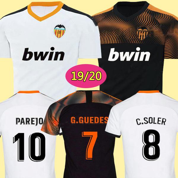 Nuevo 2019 2020 Valencia Soccer Jersey Camiseta equipacion del Valencia 18 19 20 Mejor camiseta de fútbol de calidad 3A Parejo Batshuayi Gameiro