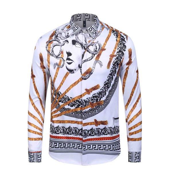 New Spring Uomo Camicie moda casual a maniche lunghe marca Camicia-up formale Affari Pois floreale Dress Men Stampato