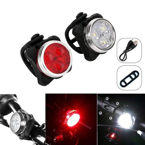 Bicicleta Ciclismo 3 LED Cabeça Frente Com USB Recarregável Cauda Clipe Luz Da Lâmpada Ao Ar Livre Ciclismo bicicleta acessórios 4 modos