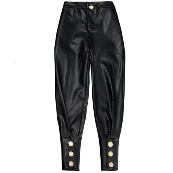 Nova Moda Preto de Alta Qualidade PU Harem Pants De Couro Para As Mulheres Casuais Calças de Cintura Alta Personalidade
