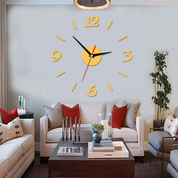 16 pulgadas Reloj 3D Reloj Espejo DIY Acrílico Reloj de Pared Decoración para el hogar Oficina Windows Creativo Vacaciones Decoración silenciosa Diseño de Interiores