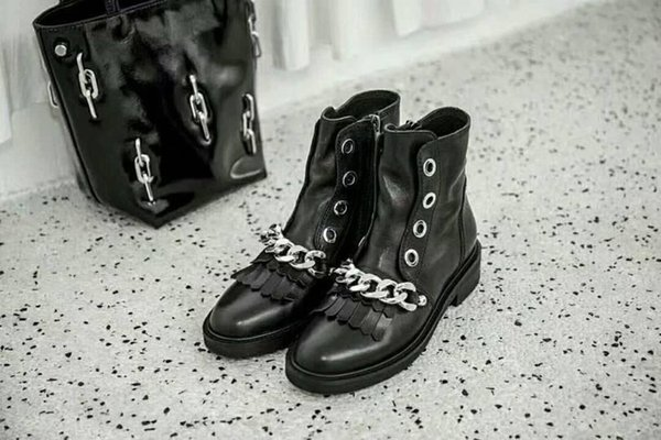 Branded Women Print Canvas Star Trail Lace-up Ankle Elegant Lady Side Zipper Chunky Heel Rubber Outsole Luxury Designer Black Boots