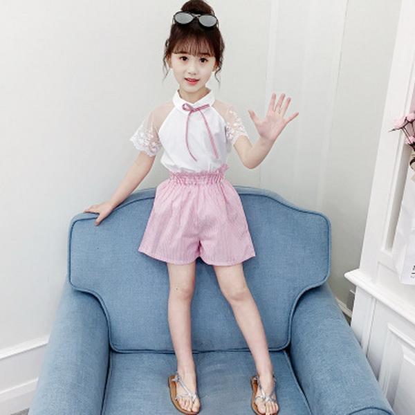 Mädchen Kleidung Sets Neue Kinderkleidung Sommer Mädchen Anzug 2019 Neue Spitze Kurzarm Kurze Hosen Zweiteiliger Baumwollanzug