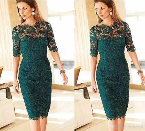 Full Lace Mother Of The Bride Dresses Jewel Neck Half Sleeves Green Plus Size Women Cocktail Party Dress Prom Evening Dresses
