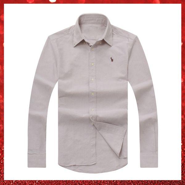Hot sale Livraison gratuite plaid lapel mens long sleeved Cotton Shirt Men USA Brand POLO Shirts 100% Oxford Casual Shirt Small Horse