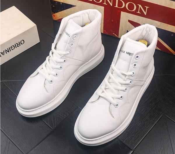 2019 Nuevo estilo Hombres Causal Zapatos Otoño Invierno Frente Cordones Botines de cuero Zapatos Hombre Casual High Top Canvas Men BMM412