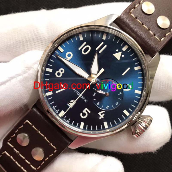 2018 Top Quality Luxury Wristwatch Big Pilot Midnight Blue Dial Automatic Men's Watch 46MM Mens Watch Watches.