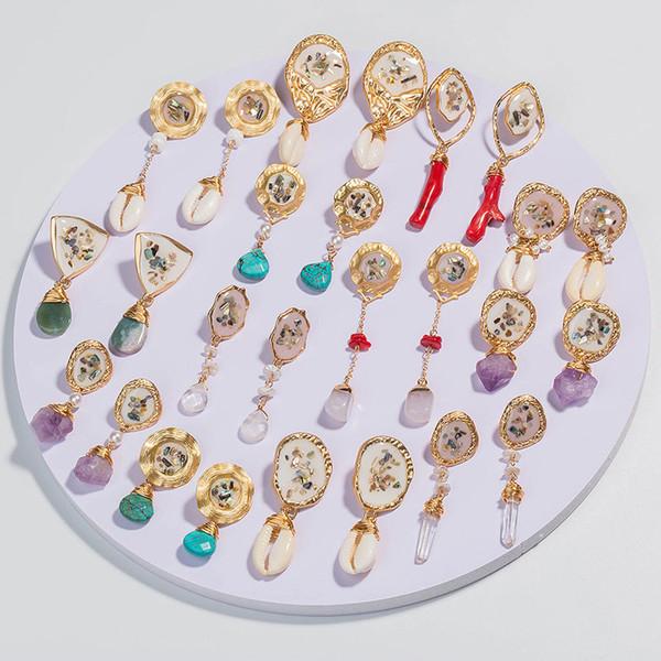Frauen Unregelmäßige Naturstein Perle Ohrringe Reiki Edelstein Baumeln Haken Tropfen Ohrring Vintage Multicolor Weibliche Shell Harz Korallen Schmuck