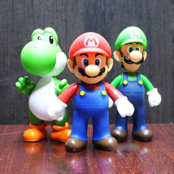 7 Style Super Mario Bros jouet Dessin animé jeu poupées D'action Mario Luigi Yoshi princesse Action Figure cadeau Pour Enfant jouets