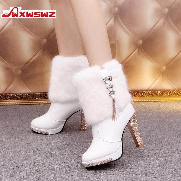 WXWSWZ Bling High Heels Rabbit Fur Boots Women Plush Warm Platform Shoes Elegant Crystal Lady Wedding Party High-heeled Shoes