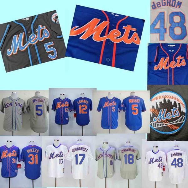 New York David Wright Forması Mets Keith Hernandez Mike Piazza Tom Seaver Darryl Çilek Yakup deGrom Beyzbol Formaları