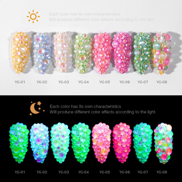 top popular Mixed Size Luminous Crystal Nail Art Rhinestone Decorations SS6-SS20 3D Glitter Diamond Drill Jewelly Flatback Glow In The Dark Ornaments 2021