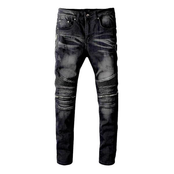 mens amiri  hommes jean desiger moto fermeture éclair cuir piqué larme jeans serrés ARN34 lavé pantalon noir locomotive pantalon slim élastique vente à chaud