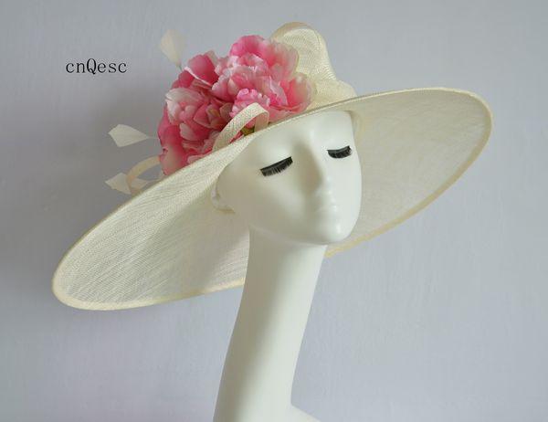 2019 Ivory pink X Large brim Ladies formal Dress hat sinamay hat church hat for wedding bridal shower mother of the bride w/big silk flower