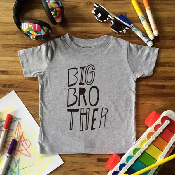 Big Brother Print Boys Одежда Футболка Смешная повседневная детская одежда Summer Kid Футболка с коротким рукавом О-Образным вырезом Мягкая серая футболка