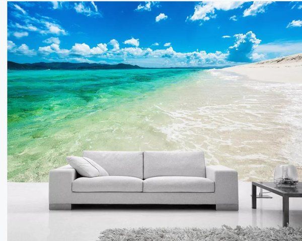 Blue sea beach blue sky white clouds landscape background wall modern living room wallpapers