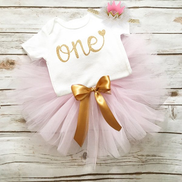 Infant Baby Girls Cotton One Year Birthday Party Dresses For Girl Toddler Kids Baptism Christening Gown Tutu Outfits Headband