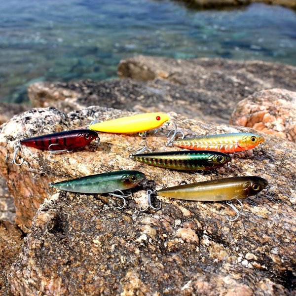 Aoclu Wobbler Super Qualität 6 Farben 60mm Harter Köder Minnow Crank Popper Stick Harte Köder Bass Frisches Salzwasser 10 # Vmc Haken