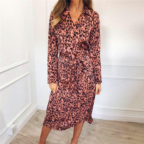 Leopard Women Long Sleeve Chiffon Dress 2019 Autumn Spring Elegant Ladies Dress Turn-down Collar Midi Sash Dresses Party Clothes