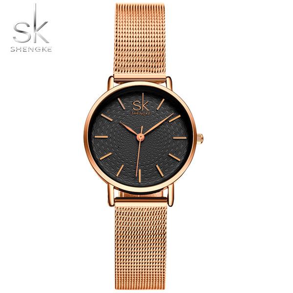 4740c7e46ac2 Shengke marca de lujo relojes de las mujeres de alta calidad de oro  cinturón de malla